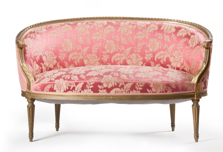 French 5-Piece Louis XVI-Style Sofa Set with Carved Ribbons 19th Century 13