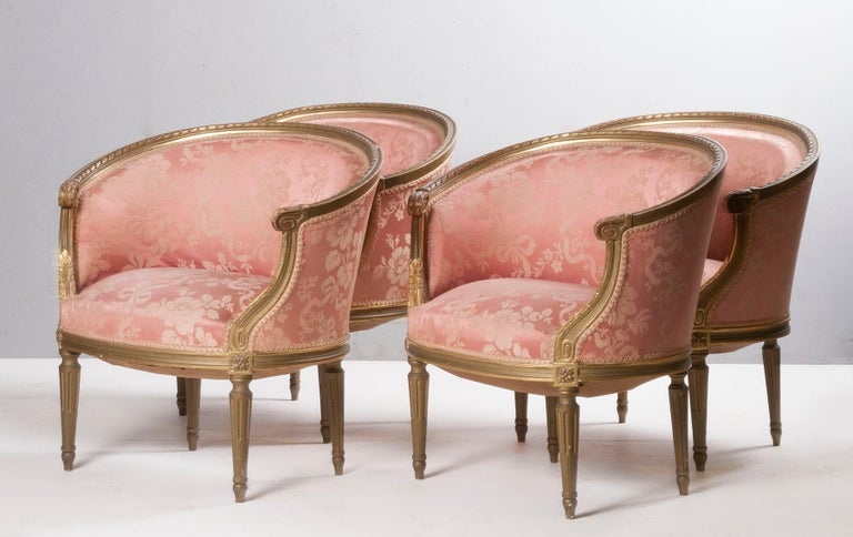 Beech French 5-Piece Louis XVI-Style Sofa Set with Carved Ribbons 19th Century