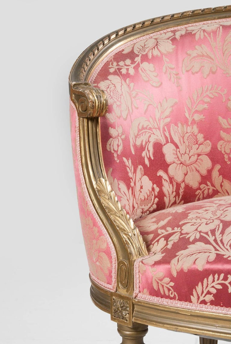 French 5-Piece Louis XVI-Style Sofa Set with Carved Ribbons 19th Century 1