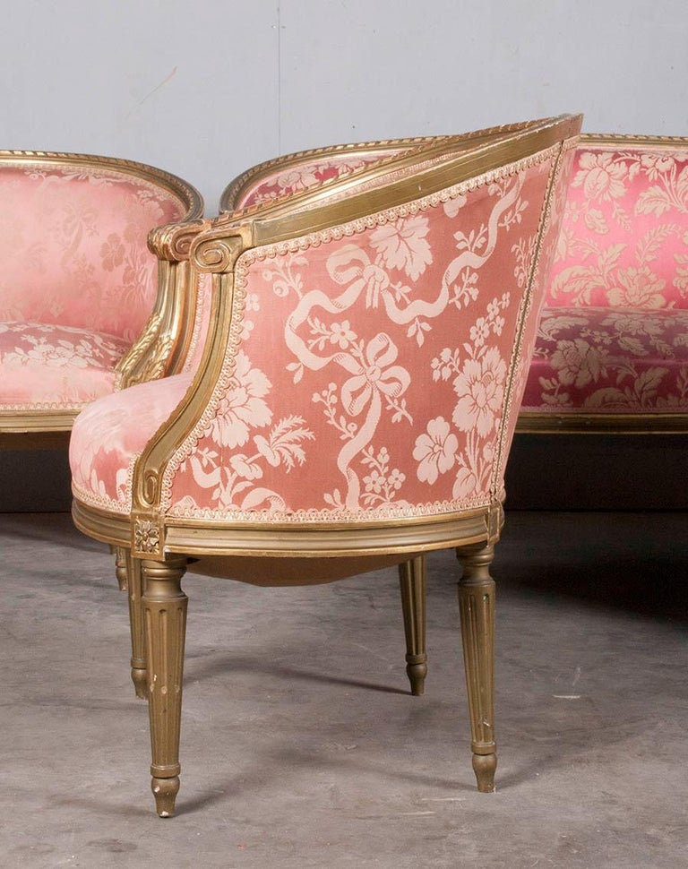 French 5-Piece Louis XVI-Style Sofa Set with Carved Ribbons 19th Century 5