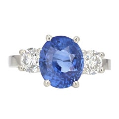 French 5.06 Carat Sapphire Diamonds Platinum Ring