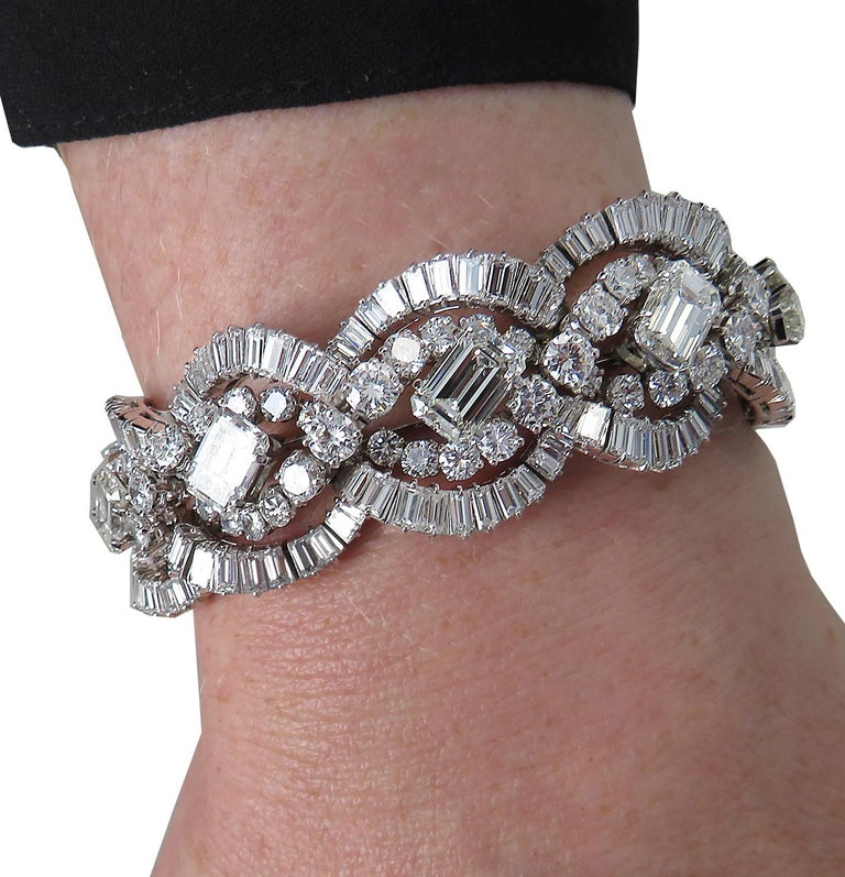 Modern French 58.66 Carat Diamond Bracelet, circa 1960 For Sale