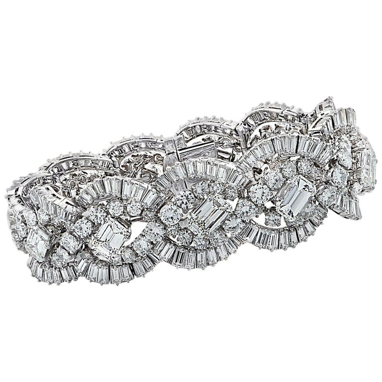 French 58.66 Carat Diamond Bracelet, circa 1960 For Sale