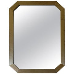 French 1970s Octogonal Brass Mirror by Guy Lefevre