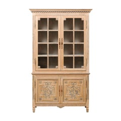 French 7.25 Ft Tall Buffet à Deux-Corps w/ Nice Trim & Neoclassical Influences