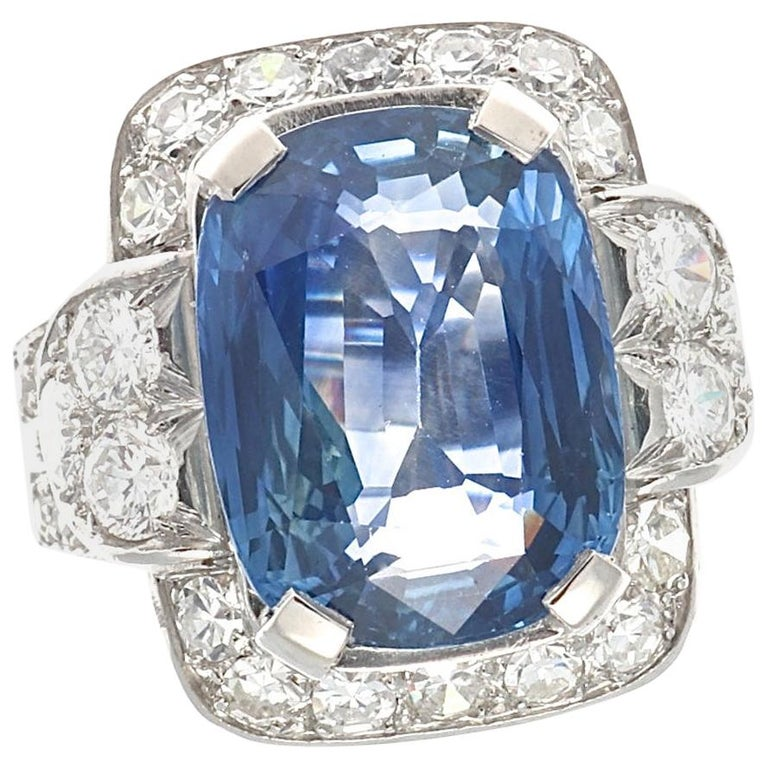 French 8.69 Carat Natural Sapphire Diamond Platinum Cocktail Ring For Sale