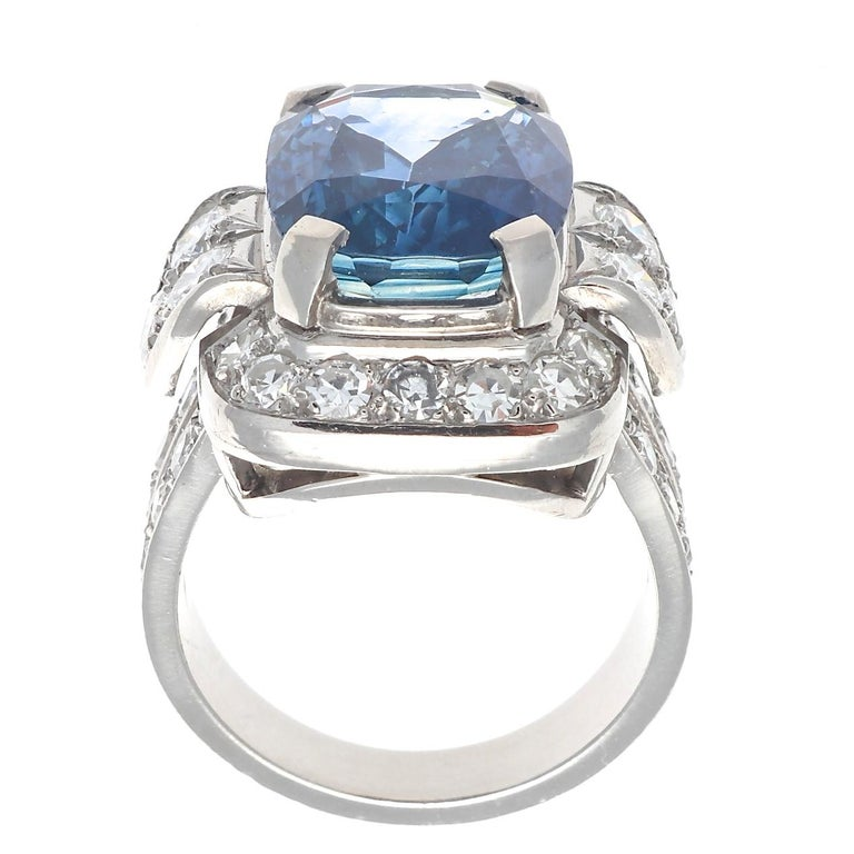 French 8.69 Carat Natural Sapphire Diamond Platinum Cocktail Ring In Excellent Condition For Sale In Beverly Hills, CA