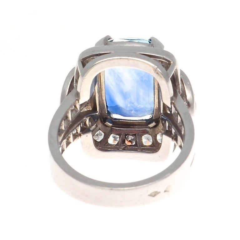Women's French 8.69 Carat Natural Sapphire Diamond Platinum Cocktail Ring For Sale
