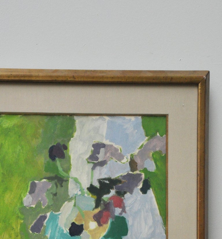 French abstract floral still life Oil on paper, framed, gold filet fabric mat Vibrantly colored brushstrokes.