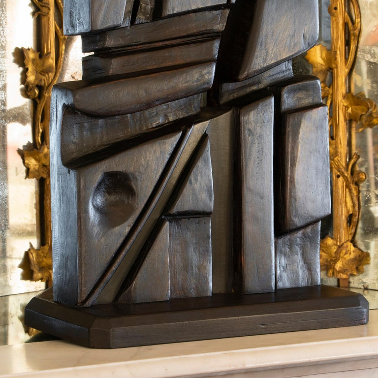 French Abstract Modernist Carved Wood Sculpture, circa 1960s, Artist Unknown For Sale 7