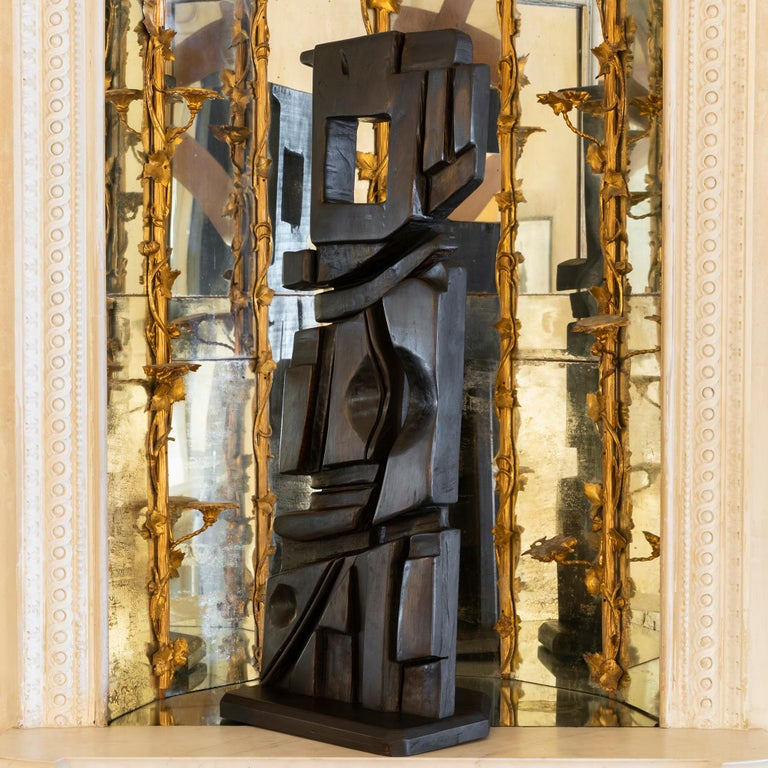 French Abstract Modernist Carved Wood Sculpture, circa 1960s, Artist Unknown In Good Condition For Sale In Firenze, IT