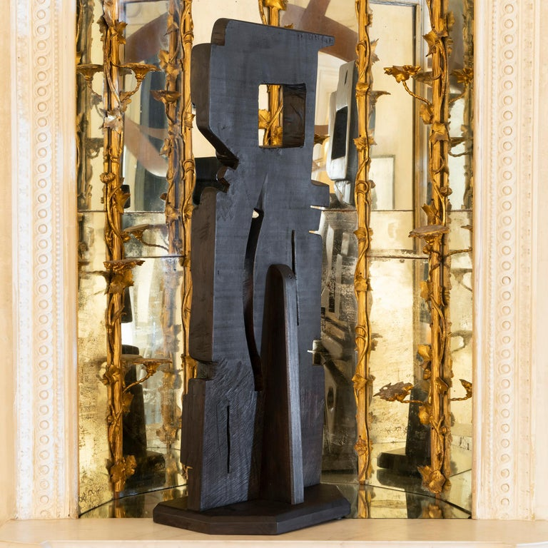 French Abstract Modernist Carved Wood Sculpture, circa 1960s, Artist Unknown For Sale 2