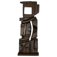 French Abstract Modernist Carved Wood Sculpture, circa 1960s, Artist Unknown