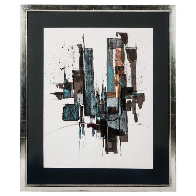 French Abstract Painting 'Gouache' in Green, Brown, Copper Colors by A. Gabriot For Sale