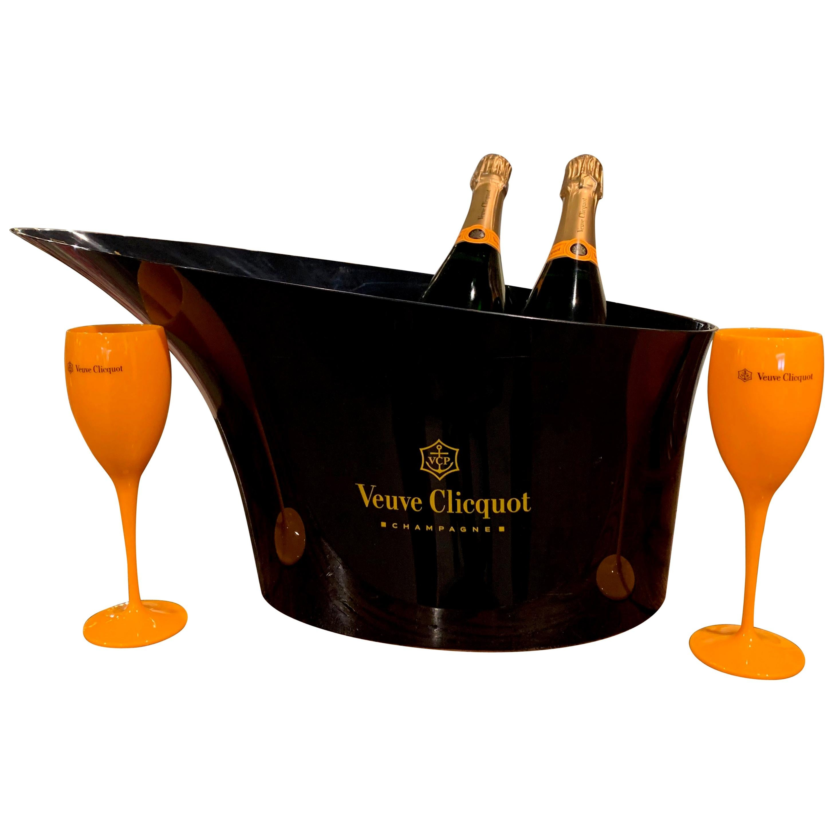 """French Acrylic """"Veuve Clicquot"""" Double Magnum Champagne Cooler with Glasses"""