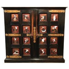 French Aesthetic Movement Neoclassical Style Ebonized Oak Cabinet