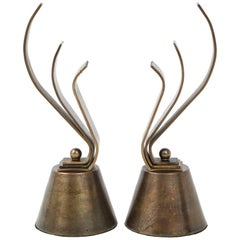 French Aged Bronze Fireplace Chenets