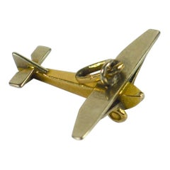 French Airplane Gold Charm