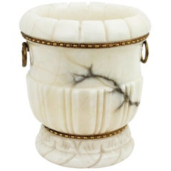 French Alabaster and Bronze Champagne or Wine Cooler or Neoclassical Urn Vase