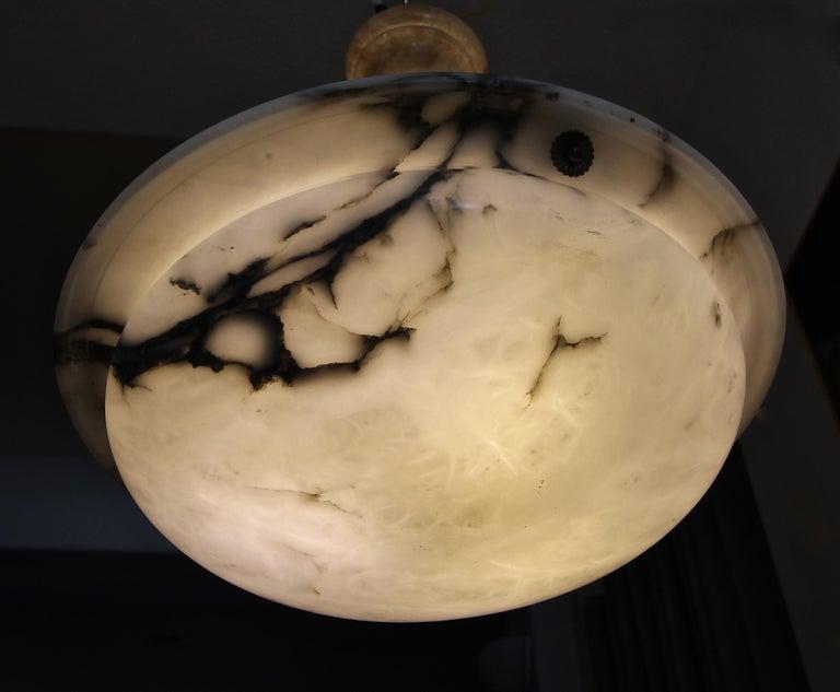 French Alabaster Ceiling Pendant Chandelier Light For Sale 7