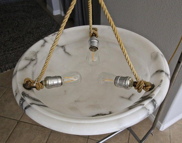 French Alabaster Ceiling Pendant Chandelier Light For Sale 11