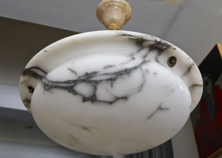 French Alabaster Ceiling Pendant Chandelier Light In Good Condition For Sale In Palm Springs, CA