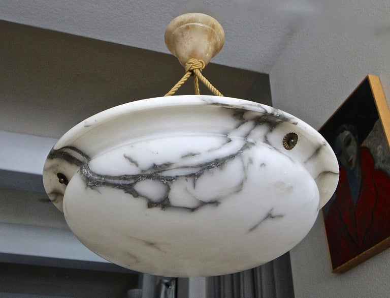 Mid-20th Century French Alabaster Ceiling Pendant Chandelier Light For Sale