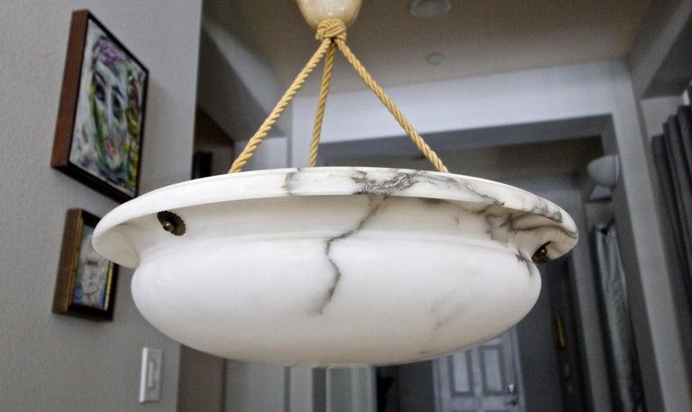 French Alabaster Ceiling Pendant Chandelier Light For Sale 3