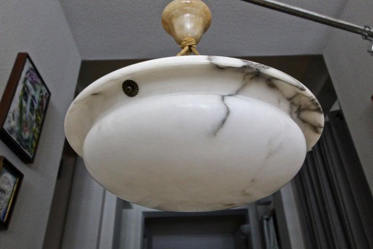 French Alabaster Ceiling Pendant Chandelier Light For Sale 4