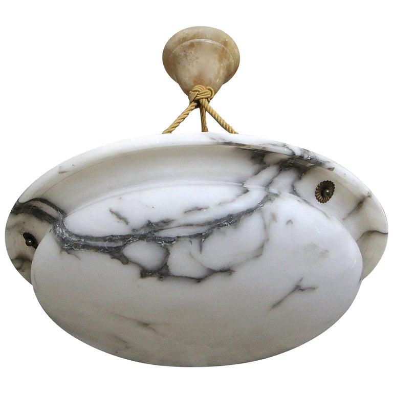 French Alabaster Ceiling Pendant Chandelier Light For Sale