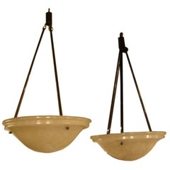French Alabaster Hanging Light Fixture, 2 Avail./Priced Individually