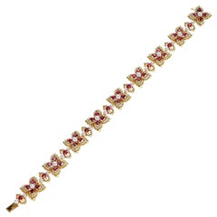French Alexandre Reza 7.41 Ct. Ruby and Pearl Bracelet with French Marks, 18K