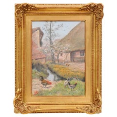 French Alfred de Knyff Early 19th Century Farm Painting with Roosters and Hens