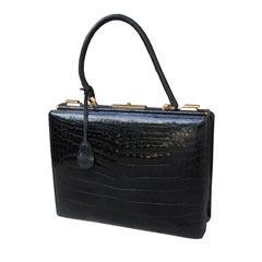 French Alligator Handbag with Interior Lock, Labeled Marque Deposse, circa 1950s