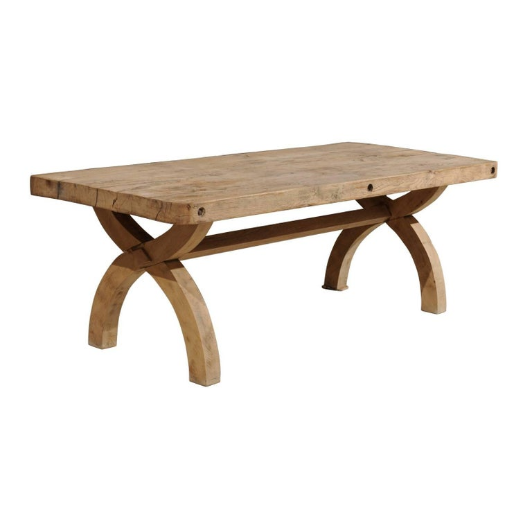 French Alpine Oak Dining Table X-Form Trestle Base from the 19th Century