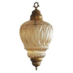 French Art Deco Brass Amber Glass Lantern, Chandelier, 1930s