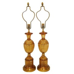 French Amber Cut Glass Table Lamps