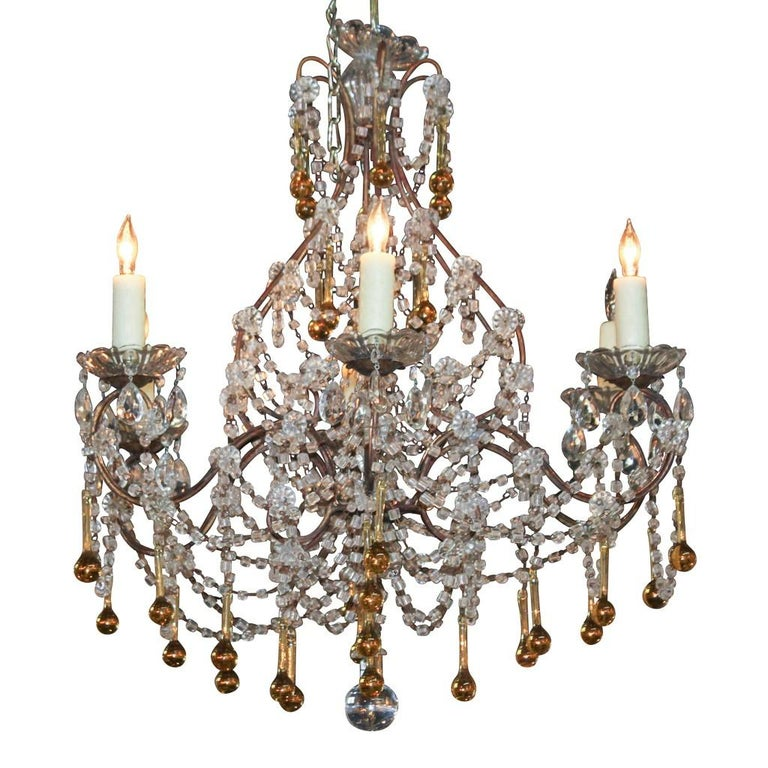French Amber to Clear Crystal Chandelier, circa 1920 For Sale