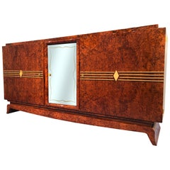 French Art Deco Amboyna Sideboard, 1940s