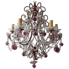 French Amethyst Murano Drops and Flowers Crystal Chandelier, circa 1920