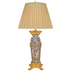 French and Asian Collaboration 19th Century Louis XV Style Lamp