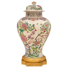 French and Asian Collaboration 19th Century Louis XVI St. Porcelain Lidded Urn
