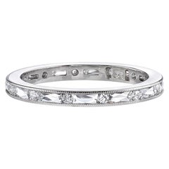 French and Old European Cut Diamonds Set in a Handcrafted Platinum Eternity Band