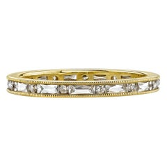 French and Old European Cut Diamonds Set in a Handcrafted Gold Eternity Band