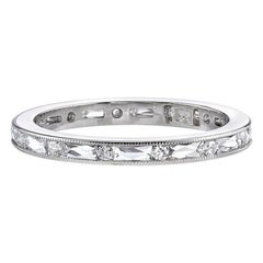 Handcrafted Paige French/Old European Cut Diamond Eternity Band by Single Stone