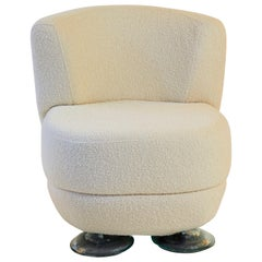 French Andrée Putman Restored and Reupholstered Bouclé Ivory Chair, circa 2001