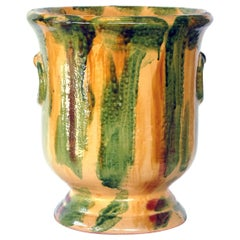French Anduze Style Pottery Garden Pot with Yellow, Green and Brown Drip Glaze