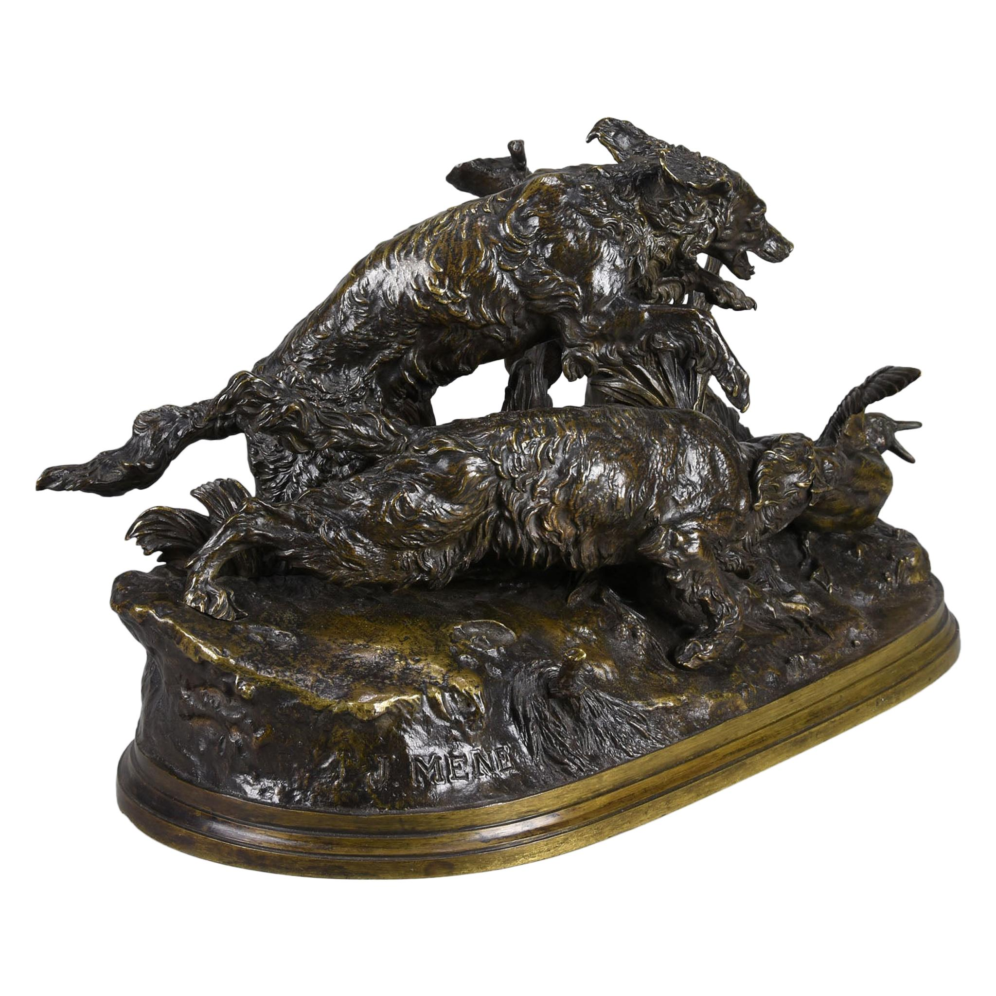 """French Animalier Bronze Group """"Chasse au Canard"""" by Pierre Jules Mêne"""