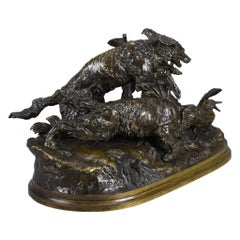 "French Animalier Bronze Group ""Chasse au Canard"" by Pierre Jules Mêne"