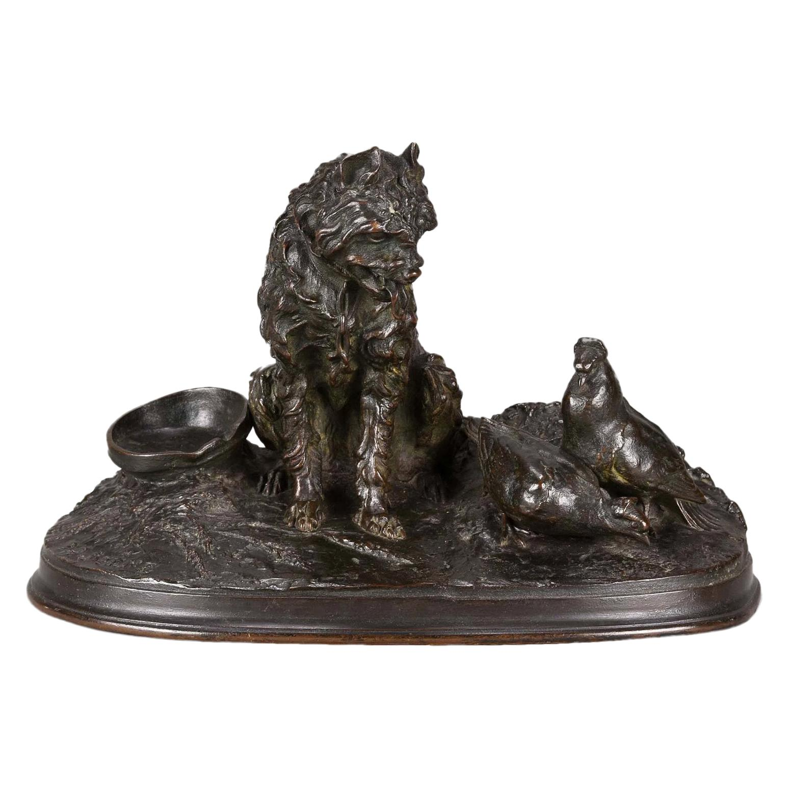 French Animalier Bronze Study Entitled 'Chien et Pigeon' by Pierre Jules Mêne